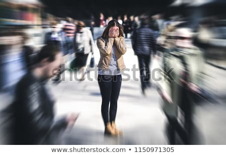 Stock photo: woman in panic, emotion and stress