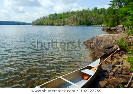 Nyár kenu vidék kép kés tó Stock fotó © wildnerdpix