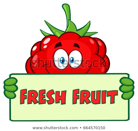 Raspberry Fruit Cartoon Mascot Character Holding A Banner With Text Fresh Fruit Stock photo © hittoon