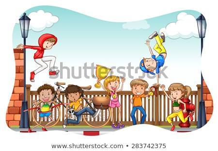 musica · ragazzi · illustrazione · bambini · giocare · note · musicali · bambino - foto d'archivio © bluering