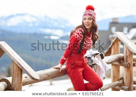 jonge · vrouw · vrouw · gelukkig · sneeuw · ski · jonge - stockfoto © is2
