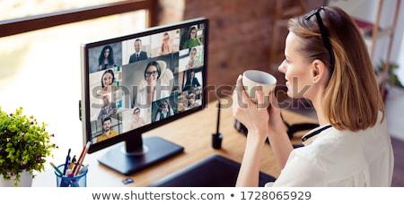 Vergadering koffie technologie zakenman bureau Stockfoto © IS2