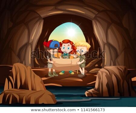 グループ 洞窟 実例 背景 芸術 友達 ストックフォト © bluering