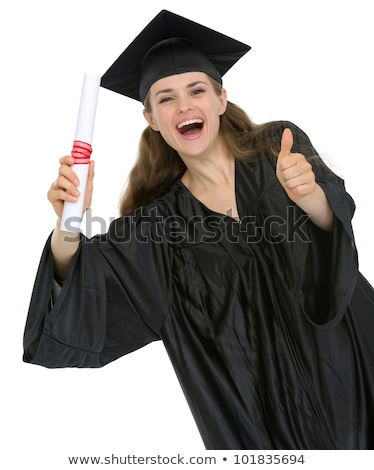 happy student girl with diploma showing thumbs up stock photo © dolgachov