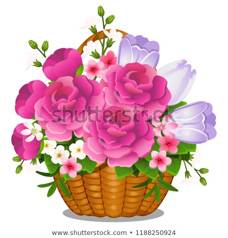 Basket filled with cut spring or summer flowers isolated on white background. Vector close-up cartoo stock photo © Lady-Luck