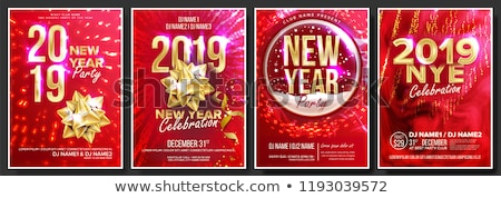 2019 Party Flyer Poster Vector. Happy New Year. Music Night Club Event. Greeting Dance Event. Design Stock photo © pikepicture