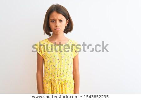 peinzend · jonge · vrouw · naar · omhoog · portret · Blauw - stockfoto © deandrobot