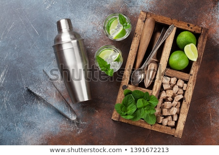 Stockfoto: Mojito · cocktail · ingrediënten · vak · bar