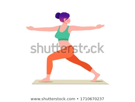 Crescent Lunge Twist Yoga Pose Vector Illustration Stock photo © robuart