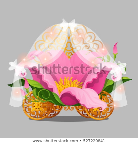 Fantasie bed prinses roze bloem bloemblaadjes goud Stockfoto © Lady-Luck