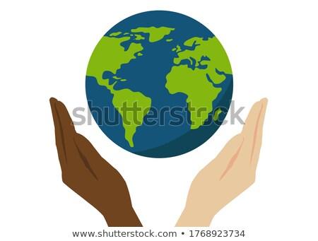 手 ホールド 地球 惑星 2 腕 ストックフォト © MaryValery