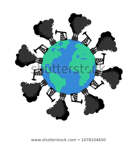 Pollution of earth. Oil rig and factory destroy planet. Environm Stock photo © MaryValery