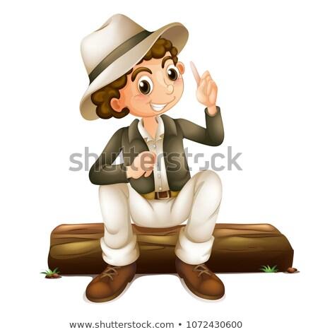 Férfi szafari ül boldog háttér ruházat Stock fotó © colematt