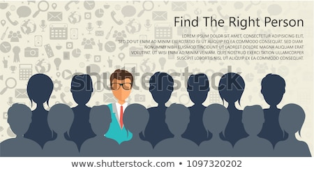 Find the right person for the job concept. Hiring and recruiting new employees. Flat vector design stock photo © makyzz