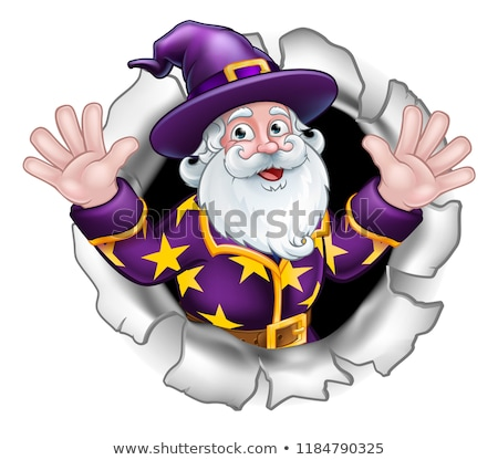 Wizard Breaking Through Background Cartoon Stock photo © Krisdog