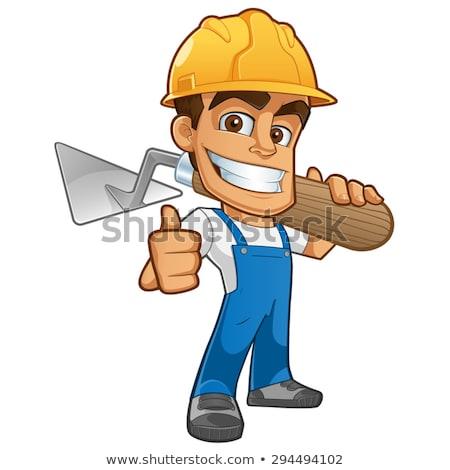Cartoon budowniczy murarz pracownika narzędzie kobieta Zdjęcia stock © Krisdog