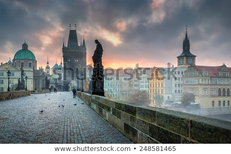 Pontes Praga noite ver céu Foto stock © Givaga