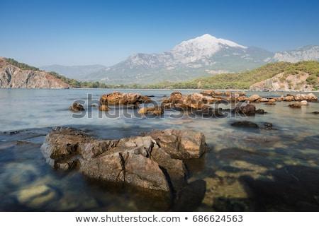 stenen · berg · groot · zonsondergang · voorjaar · gras - stockfoto © kotenko