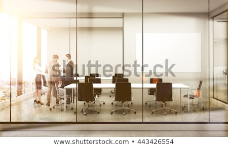 Business background of a with meeting room. double exposure Stock photo © alphaspirit