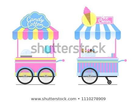 キャンディ 綿 ワゴン カラフル 孤立した 白 ストックフォト © robuart
