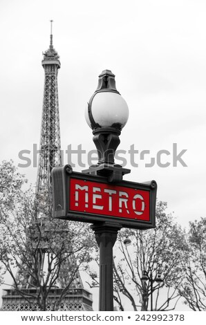 Red entry sign of the Paris subway Stock photo © boggy
