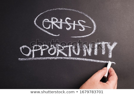 Main écrit crise solution gestion marqueur Photo stock © ivelin