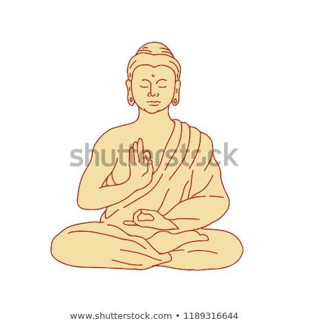 Buddha ül lótusz pozició rajz rajz Stock fotó © patrimonio