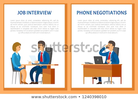 Phone Negotiations Vector Poster. Boss Leader Stock photo © robuart