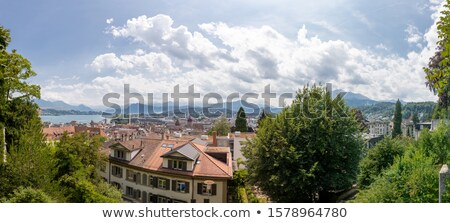 City of Luzern church and rooftops aerial view Stock photo © xbrchx
