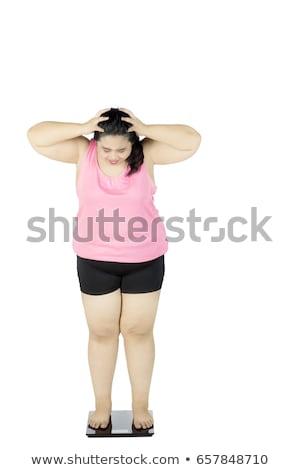 Portré szomorú túlsúlyos fiatal nő visel sport Stock fotó © deandrobot