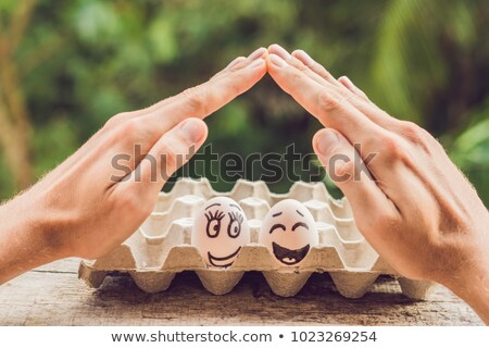 Twee eieren echtpaar Open handen Stockfoto © galitskaya