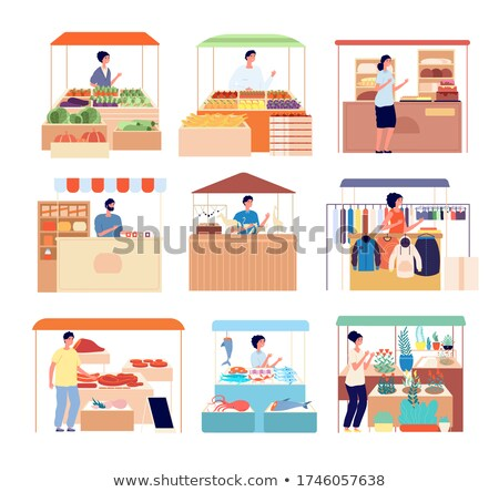Stall for sale of food product isolated on white background. Tent on the marketplace. Vector cartoon stock photo © Lady-Luck