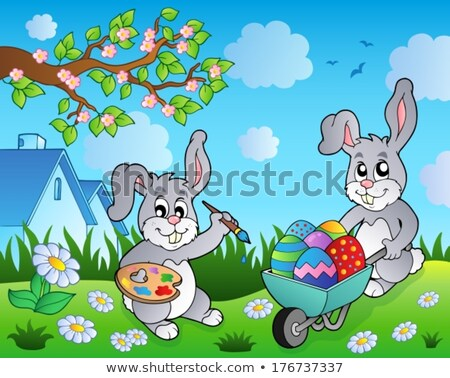 Húsvéti nyuszi talicska kép nyúl művészet tojások Stock fotó © clairev