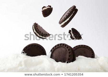 Cremoso torta chocolate oscuro alimentos cocina dulces Foto stock © boggy