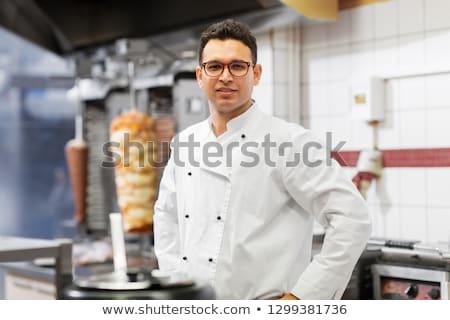 chef at kebab shop Stock photo © dolgachov