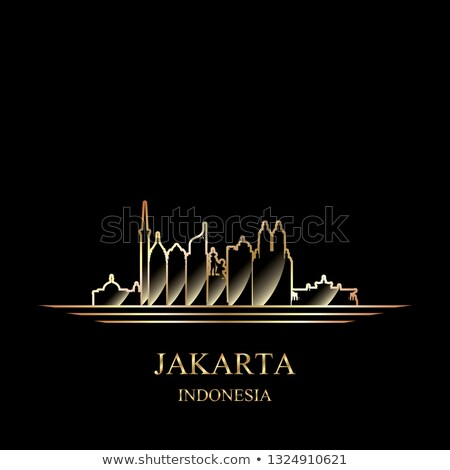 gold silhouette of jakarta on black background stock photo © ray_of_light