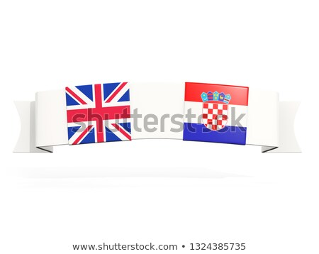 Banner with two square flags of United Kingdom and croatia Stock photo © MikhailMishchenko