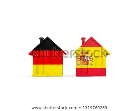Iki evler bayraklar Almanya İspanya yalıtılmış Stok fotoğraf © MikhailMishchenko