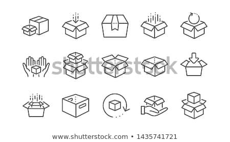 Vektör ayarlamak kutu imzalamak çizim karikatür Stok fotoğraf © olllikeballoon