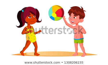 Indian Child Girl And European Boy In Beach Suits Playing Ball On The Beach Vector. Isolated Illustr Stock photo © pikepicture