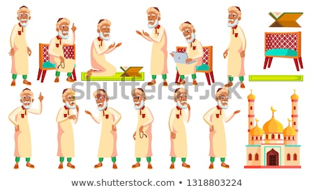 Arab, Muslim Old Man Poses Set Vector. Elderly People. Senior Person. Aged. Active Grandparent. Joy. Stock photo © pikepicture
