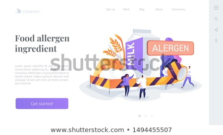 Alimentaire allergie atterrissage page homme produits Photo stock © RAStudio
