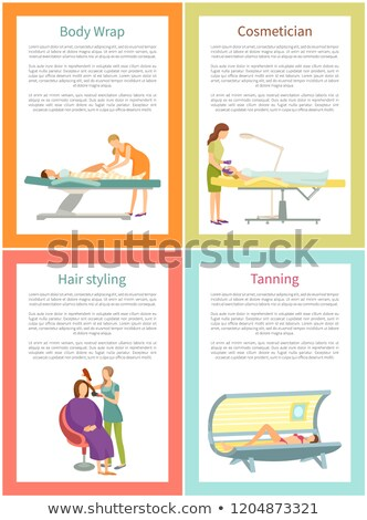 Tanning and Hair Styling Procedure Posters Vector Stock photo © robuart