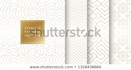 Stock photo: Geometric seamless golden pattern background. Simple vector graphic white print. Repeating line