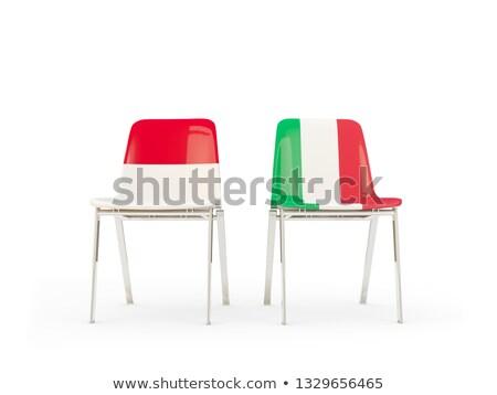 Kettő székek zászlók Indonézia Olaszország izolált Stock fotó © MikhailMishchenko