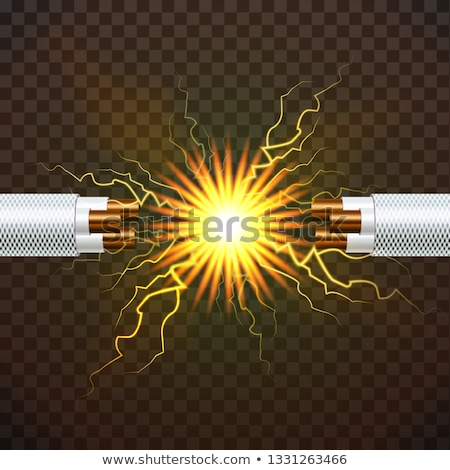 Electric Break Cable Vector. Electrician Rubber Cord. Copper Wire. Circuit Sparks. 3D Realistic Isol Stock photo © pikepicture