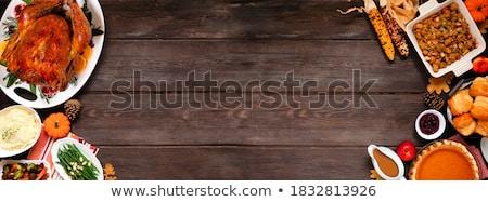 Dankzegging Turkije houten frame illustratie achtergrond kunst Stockfoto © colematt