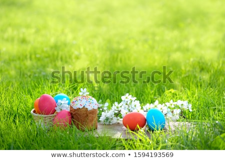 Happy Easter, Easter composition with orthodox sweet cake, bread Stock photo © Illia