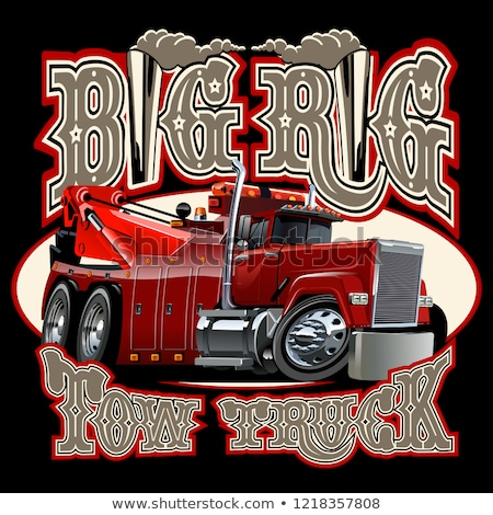 Cartoon big rig tow truck with vintage lettering poster Stock photo © mechanik