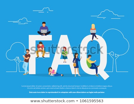 Frequently asked questions concept illustration of young people standing near letters. Flat vector i Stock photo © makyzz